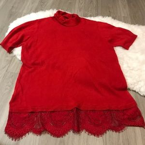 APT 9 Red Lace Detail Lightweight Sweater Top PXL
